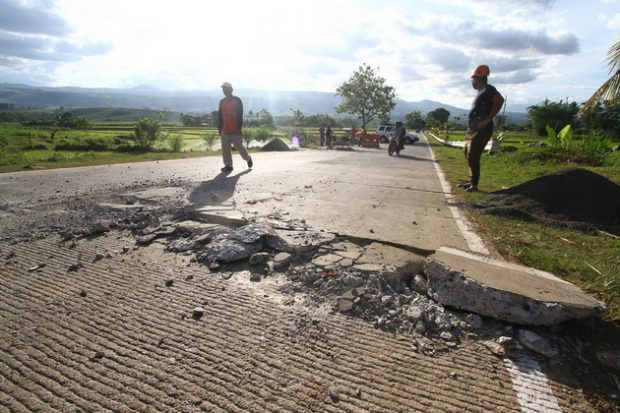A portion of the national highway in Kalilangan town in Bukidnon was damaged by the magnitude 6 earthquake on Wednesday morning. © Keith Bacongco