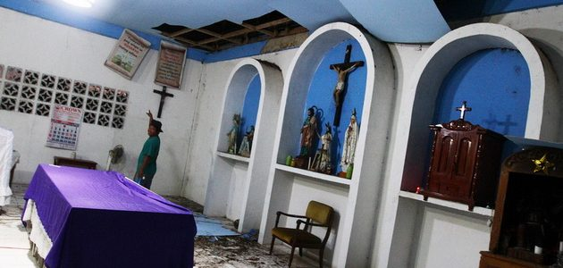 A portion of the ceiling of San Jose chapel in Barangay Kili-kili, Wao, Lanao del Sur fell off due to the magnitude 6.0 earthquake dawn on Wednesday. Local folks say the religious icons moved to the edge due to the tremor. © Keith Bacongco