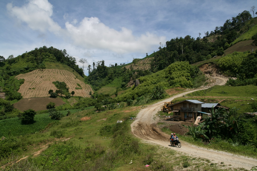 Provincial road cuts through Daguma Mountain Range leading to Barangay Ned.