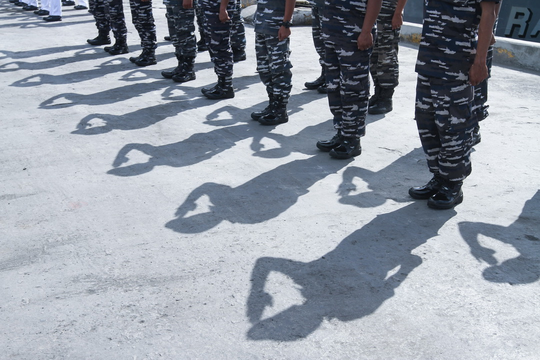 JOINT PATROL. Members of the Indonesian Navy render a salute during the arrival ceremonies at Sasa Port in Davao City on July 6, 2017. The Indonesian Navy conducted a joint border patrols with the Philippine Navy to strengthen security measures in the border between the two countries amid the threat of terrorism in the region.