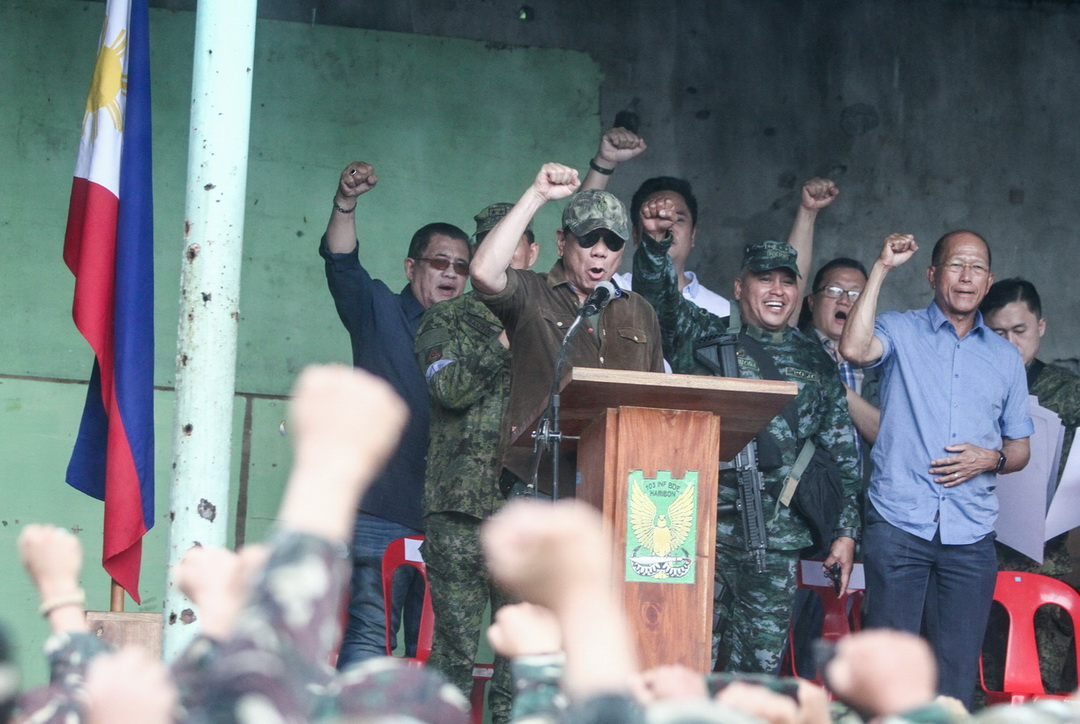 President Rodrigo Duterte leads the declaration of liberation of Marawi City on October 17, 2017 after almost five months of fighting against ISIS-inspired Maute terror group.